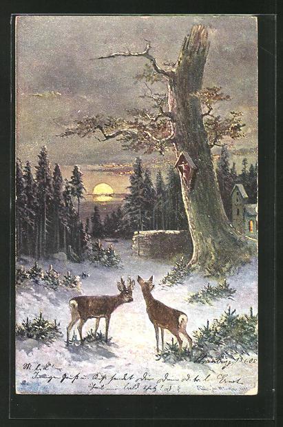 Künstler-AK M. Müller jun.: Rehe an einem Baum im Winter