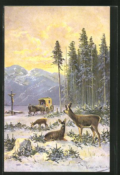 Künstler-AK M. Müller jun.: Rehe im Schnee mit Postkutsche
