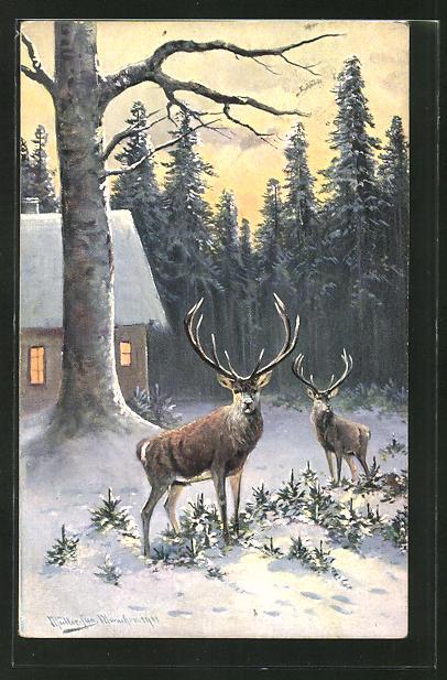Künstler-AK M. Müller jun.: zwei Hirsche am winterlichen Haus