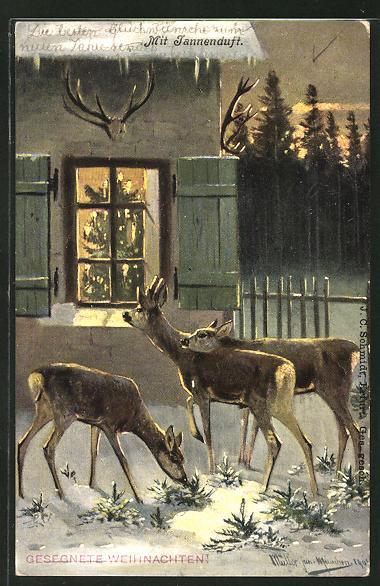 Künstler-AK M. Müller jun.: Rehe am weihnachtlichen Haus 0