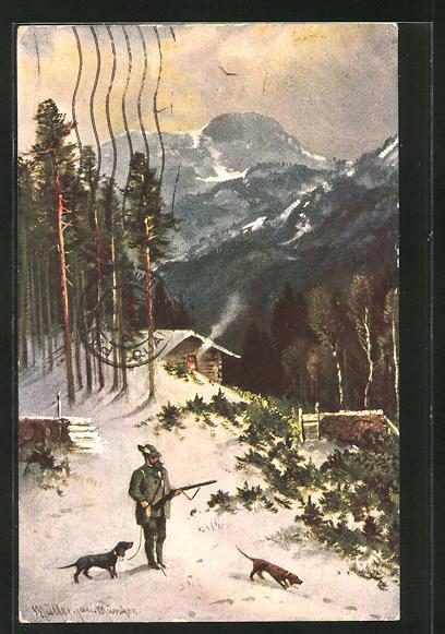 Künstler-AK M. Müller jun.: Jäger mit seinen zwei Hunden im winterlichen Wald 0