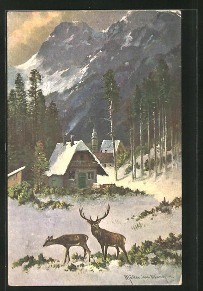 Künstler-AK M. Müller jun.: Hisch mit Hirschkuh am winterlichen Dorf 0