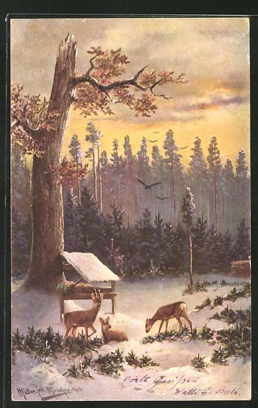 Künstler-AK M. Müller jun.: Rehe im Winter an der Futterkrippe 0