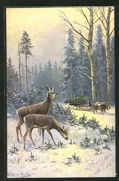 Künstler-AK M. Müller jun.: Rehe und Ochsenschlitten im winterlichen Wald