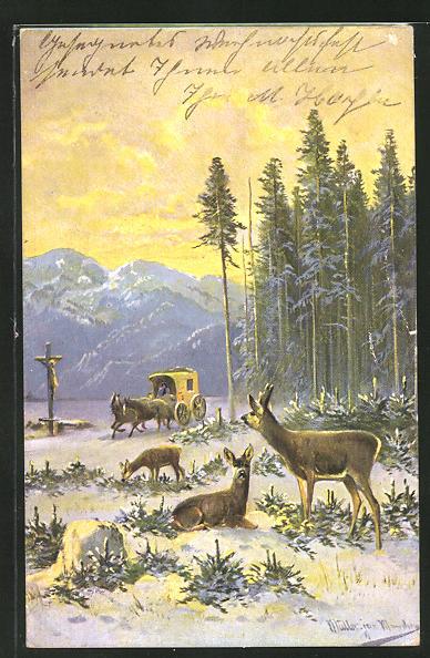 Künstler-AK M. Müller jun.: Rehe und Postkutsche im winterlichen Wald