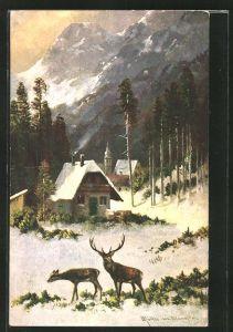 Künstler-AK M. Müller jun.: Hirsch und Hirschkuh am winterlichen Dorf