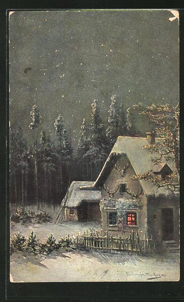 Künstler-AK M. Müller jun.: Blick zum schneebedeckten Haus eines Jägers 0