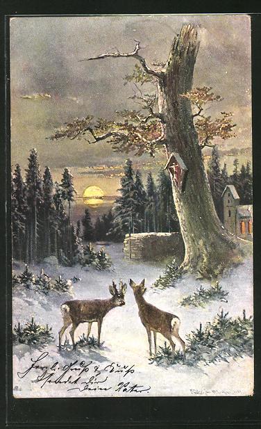 Künstler-AK M. Müller jun.: Rehe im Winter am Ortsrand