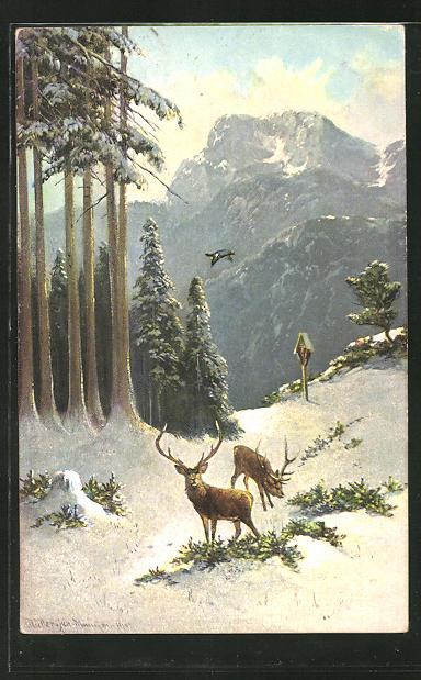 Künstler-AK M. Müller jun.: zwei Hirsche im winterlichen Wald