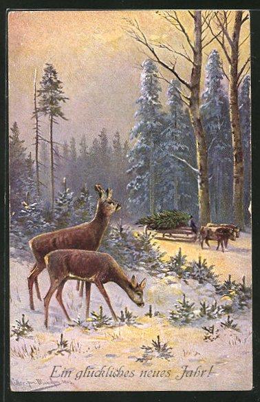 Künstler-AK M. Müller jun.: Rehe und ein Ochsenschlitten im winterlichen Wald