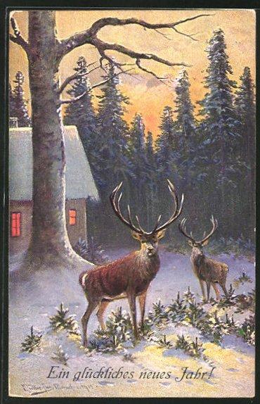 Künstler-AK M. Müller jun.: zwei Hirsche an einem schneebedeckten Haus