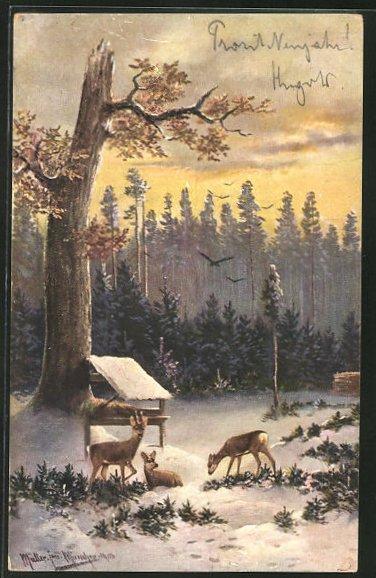 Künstler-AK M. Müller jun.: Rehe im Winter an einer Futterkrippe