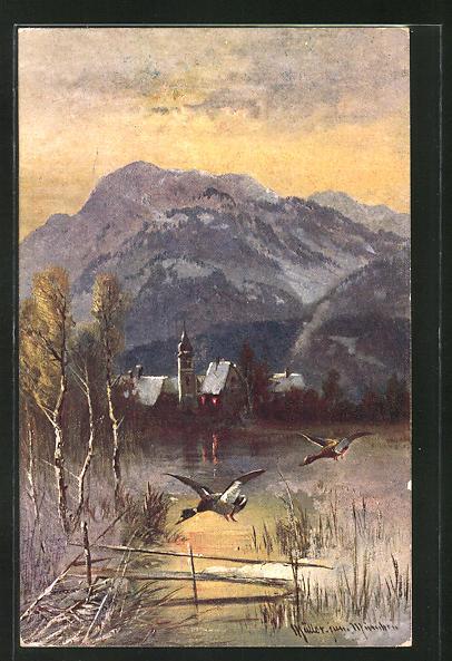 Künstler-AK M. Müller jun.: Enten beim Anflug auf einen See