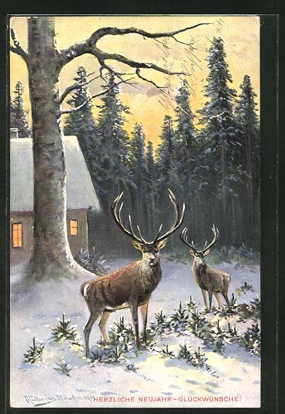Künstler-AK M. Müller jun.: zwei Hirsche an einem winterlichen Haus