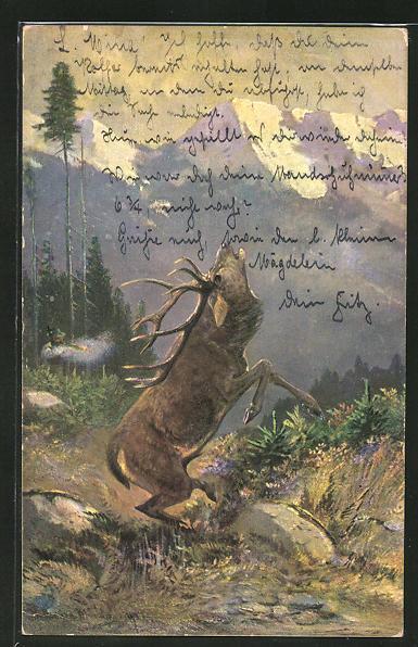 Künstler-AK M. Müller jun.: Jäger beim Abschuss eines Hirsches