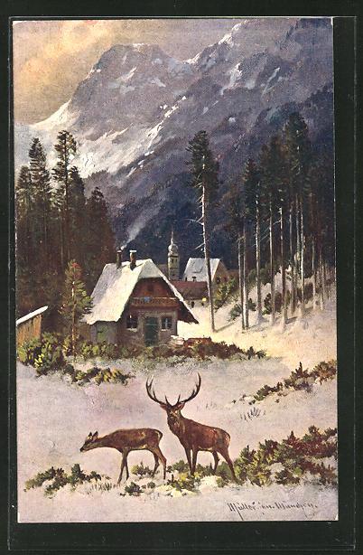 Künstler-AK M. Müller jun.: Reh & Hirsch im Ort