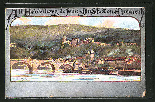 Künstler-AK Carl Biese: Heidelberg, Gesamtansicht