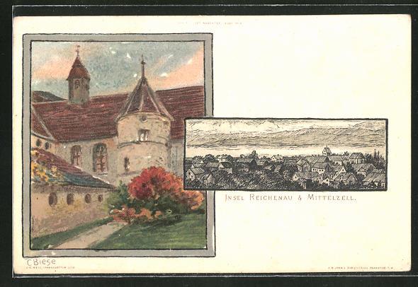 Künstler-AK Carl Biese: Insel Reichenau-Mittelzell, Ortsansichten