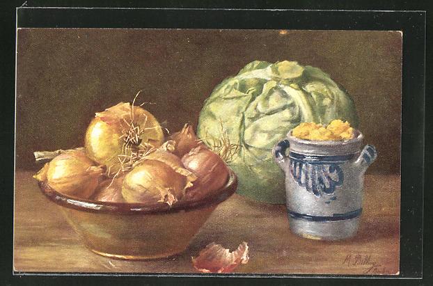 Künstler-AK M. Billing: Schale mit Zwiebeln, Kohl