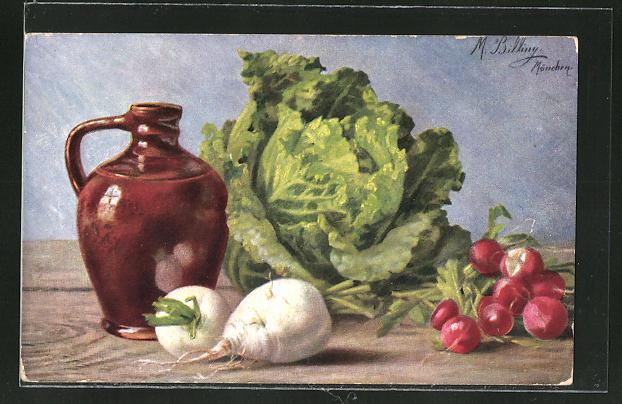 Künstler-AK M. Billing: Salat, Rettich & Radischen