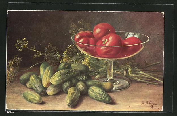 Künstler-AK M. Billing: Schale mit Tomaten, Gurken
