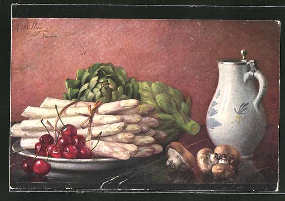 Künstler-AK M. Billing: Spargel mit Kirschen & Pilze