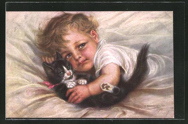 Künstler-AK M. Billing: kleiner Junge mit Katze