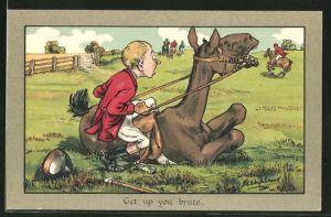 Künstler-AK George Edward Shepheard: Get up you brute, Jäger sitzt auf einem faulenzenden Pferd