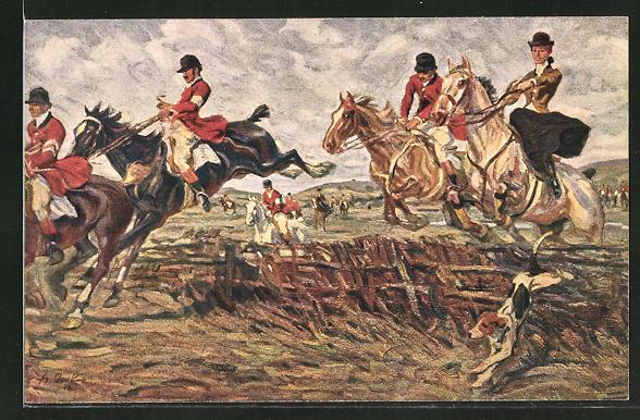 Künstler-AK Angelo Jank: Jägerin in einer Gruppe zu Pferd mit Hunden springen über einen Zaun