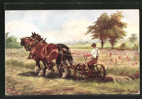Künstler-AK Harry Payne: Mowing, Bauer mit Pferdeflug bei der Ernte