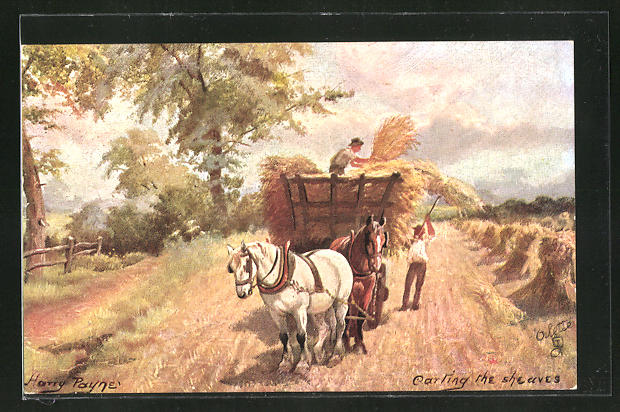 Künstler-AK Harry Payne: Carting the sheaves, Weizen wird auf den Karren geräumt