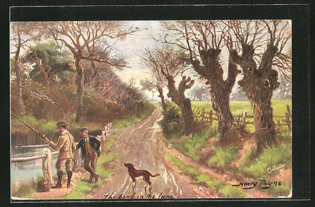 Künstler-AK Harry Payne: the bond in the lane, Angler am Fluss