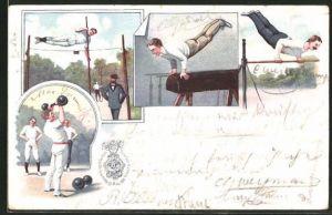 Lithographie Hamburg, IX. Deutsches Turnfest 1898, Gewichtheben, Hochsprung, Pferd, Reck