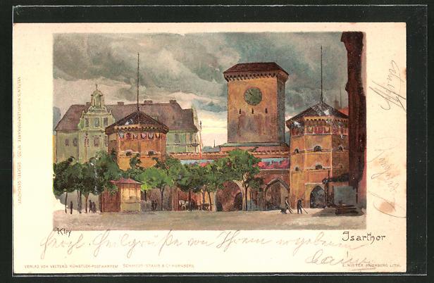 Künstler-Lithographie Heinrich Kley: München, Isarthor