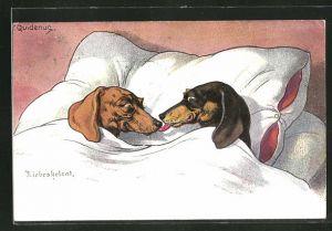 Künstler-AK Fritz Quidenus: Liebesheirat, Dackel