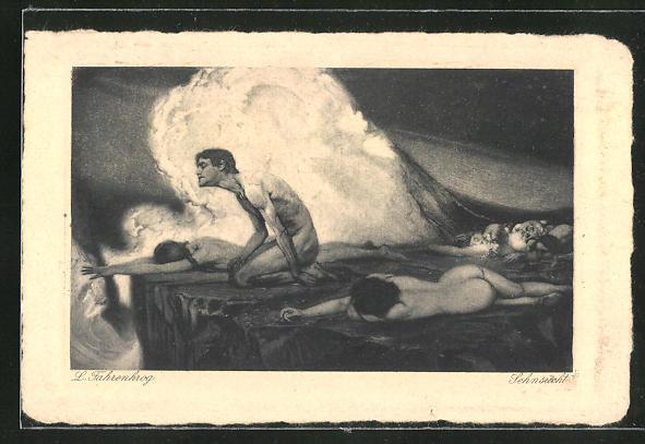 Künstler-AK Ludwig Fahrenkrog: Sehnsucht, Allegorie