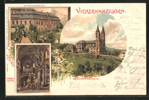 Künstler-Lithographie Erwin Spindler: Vierzehnheiligen, Wallfahrtskirche, Gnadenaltar, Klostergarten