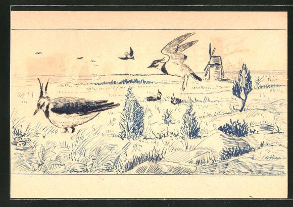 Künstler-AK Handgemalt: Vögel im Gras