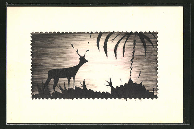 Künstler-AK Handgemalt: Hirsch am Wald