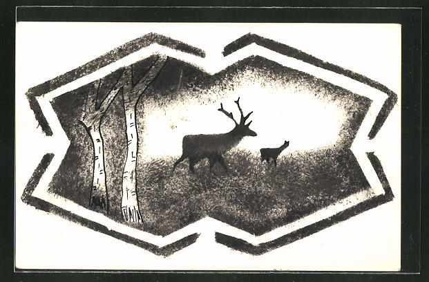 Künstler-AK Handgemalt: Hirsch im Wald