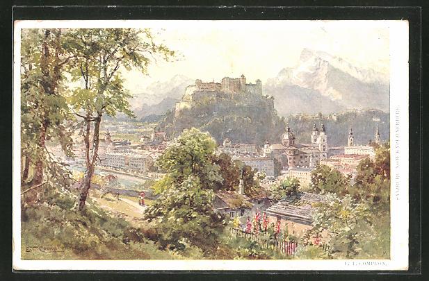 Künstler-AK Edward Theodore Compton: Salzburg vom Kapuzinerberg