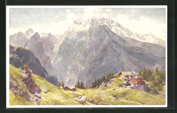 Künstler-AK Edward Theodore Compton: Priesberg gegen Watzmann