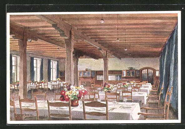 Künstler-AK Edward Harrison Compton: Speisesaal im Schloss Elmau