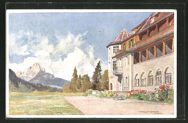 Künstler-AK Edward Harrison Compton: Südseite mit Waxenstein, Schloss Elmau