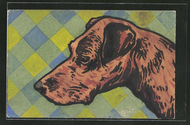 Künstler-AK Handgemalt: Kopf eines Hundes