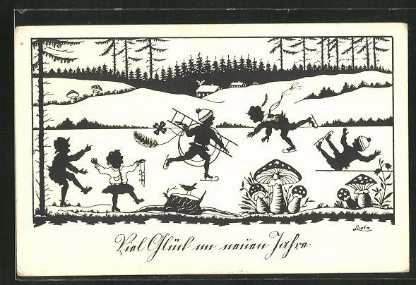 AK Schornsteinfeger und Kinder auf Schlittschuhen auf dem zugefrorenen See,