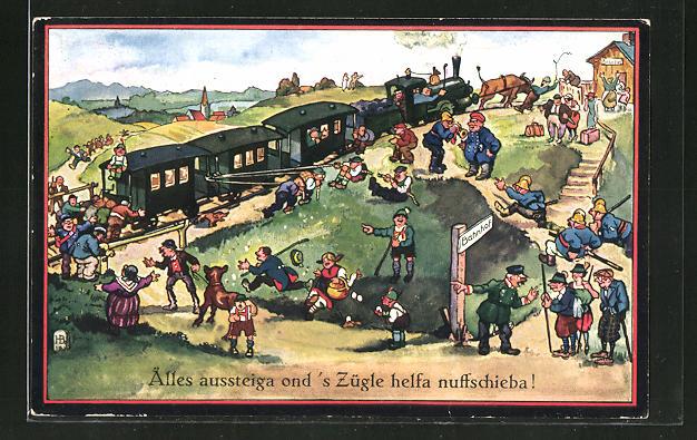Künstler-AK Hans Boettcher: Zug hat eine Panne und Fahrgäste schieben an