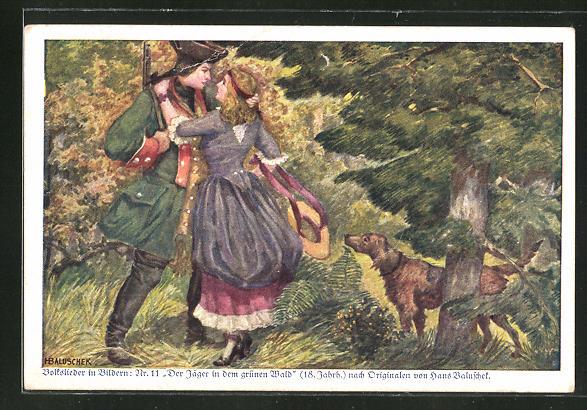 Künstler-AK Hans Baluschek: Jäger mit Hund und Frau,