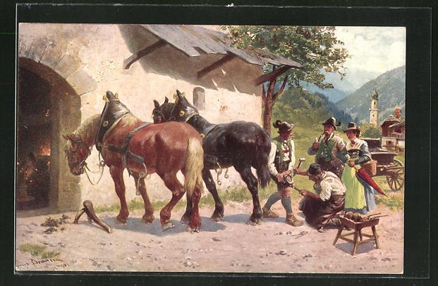 AK Pferde erhalten neue Hufeisen beim Schmied