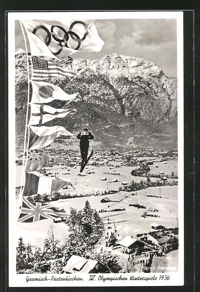 AK Garmisch-Partenkirchen, Olympia 1936, Skispringer, Flaggen der Teilnehmerstaaten